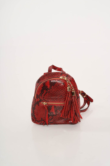 Red bag leather with tassels