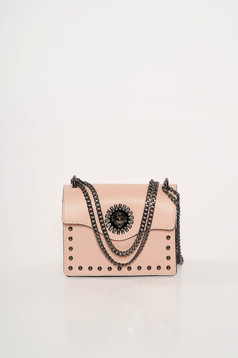 Rosa bag natural leather with metallic spikes long chain handle leather
