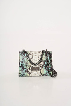 Turquoise bag natural leather with animal print long chain handle