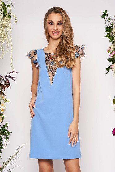 StarShinerS blue dress elegant short cut straight cloth with butterfly sleeves with sequin embellished details