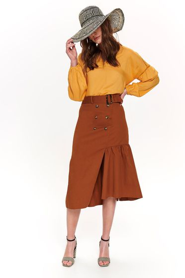 Top Secret brown high waisted flared cotton skirt accessorized with tied waistband