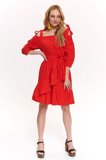 Top Secret red daily cloche dress nonelastic cotton both shoulders cut out accessorized with tied waistband
