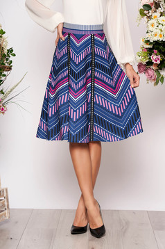 StarShinerS blue midi high waisted cloche skirt with geometrical print
