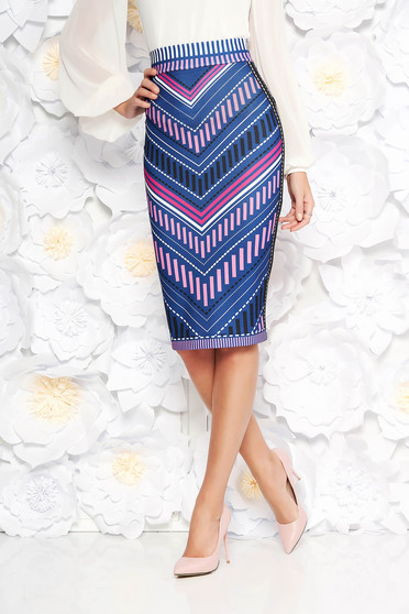 StarShinerS blue midi pencil high waisted skirt with geometrical print