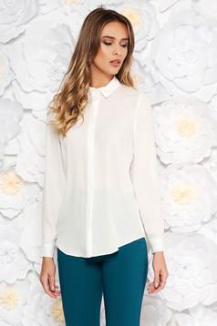StarShinerS white elegant flared women`s shirt airy fabric
