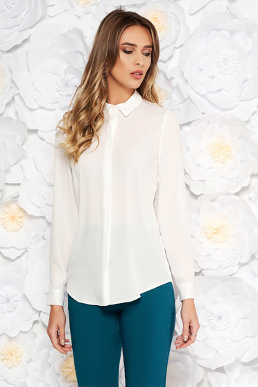 StarShinerS white elegant flared women`s shirt airy fabric