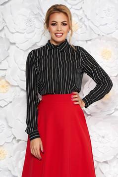 StarShinerS black elegant flared women`s shirt thin fabric with stripes