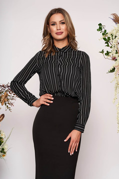 StarShinerS black elegant flared women`s shirt thin fabric with stripes