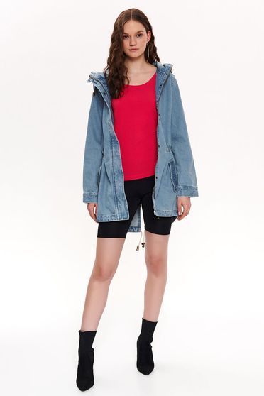 Top Secret blue casual denim jacket with easy cut long sleeve