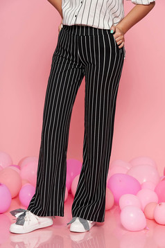 Top Secret black flared trousers with medium waist slightly elastic fabric with stripes