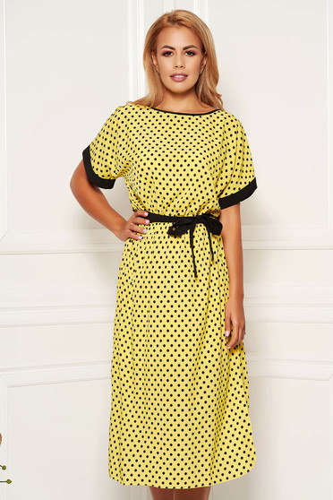 StarShinerS yellow dress daily cloche dots print detachable cord short sleeves