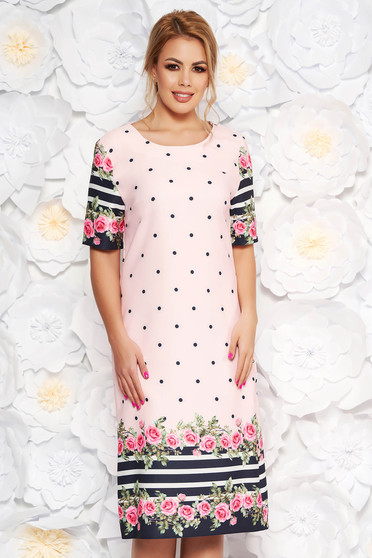 Rosa daily with straight cut dress slightly elastic fabric with floral print dots print