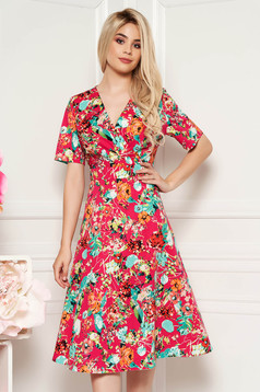 Red daily midi dress with v-neckline airy fabric with floral print