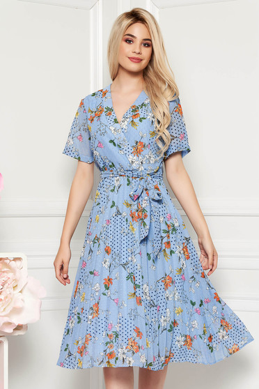 Lightblue daily cloche dress with v-neckline airy fabric with floral print