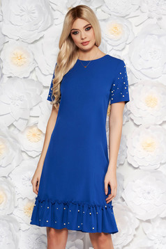 Blue elegant straight dress short sleeve with small beads embellished details soft fabric