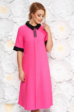 Pink elegant midi flared dress soft fabric with pockets with small beads embellished details