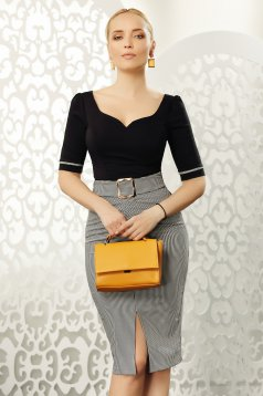 Fofy black office with tented cut women`s shirt elastic cotton with v-neckline with bow accessories