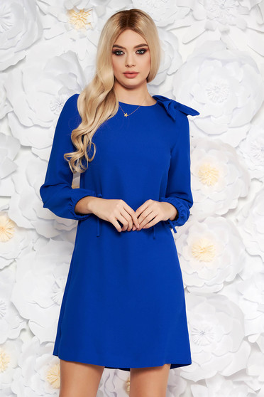 Blue elegant flared dress long sleeved bow accessory
