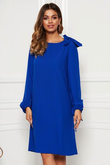 Blue elegant flared dress long sleeved bow accessory
