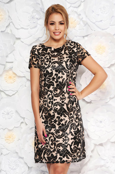 Cream occasional flared dress from laced fabric with sequin embellished details with inside lining