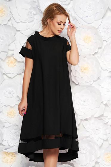 Black elegant flared asymmetrical dress thin fabric short sleeves