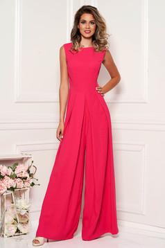 Fuchsia elegant sleeveless jumpsuit flaring cut nonelastic fabric