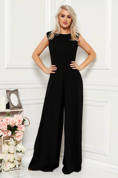 Black elegant sleeveless jumpsuit flaring cut nonelastic fabric