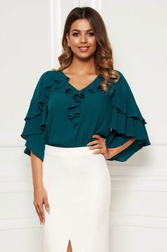 Darkgreen elegant women`s blouse from veil fabric with a cleavage with ruffle details with easy cut