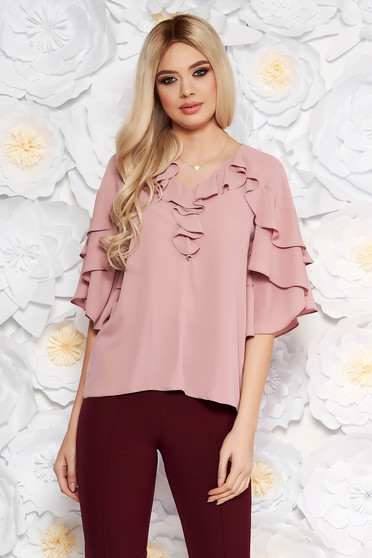 Rosa elegant women`s blouse from veil fabric with a cleavage with ruffle details with easy cut