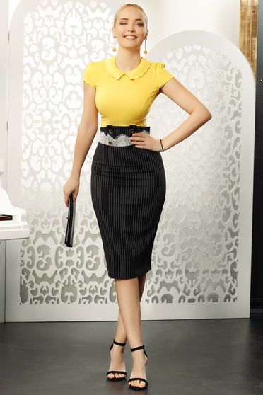 Black skirt elegant high waisted with stripes pencil midi with lace details