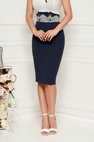 Darkblue skirt elegant high waisted with stripes pencil midi with lace details