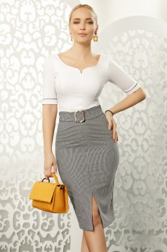 Fofy white office with tented cut women`s shirt elastic cotton with v-neckline with bow accessories