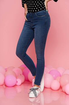 Top Secret blue casual skinny jeans jeans with medium waist slightly elastic cotton