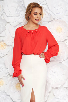 LaDonna coral office flared women`s blouse from veil with floral details with inside lining