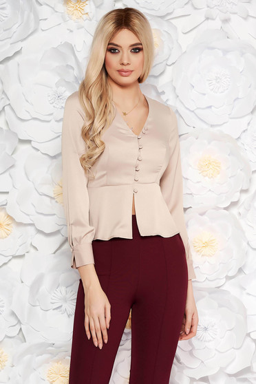 StarShinerS cream elegant women`s blouse with tented cut from satin fabric texture with frilled waist
