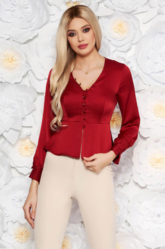 StarShinerS burgundy elegant women`s blouse with tented cut from satin fabric texture with frilled waist