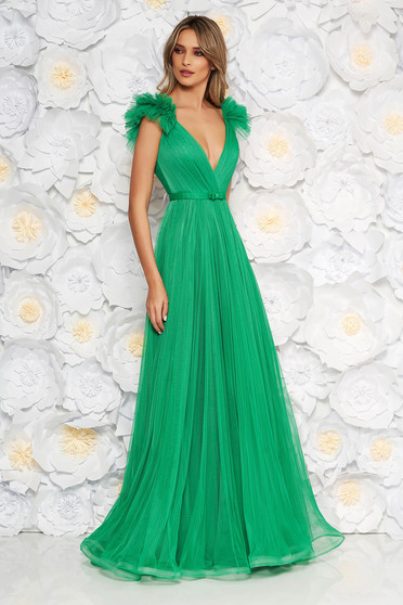 Ana Radu lightgreen luxurious dress from tulle with inside lining with deep cleavage with push-up cups