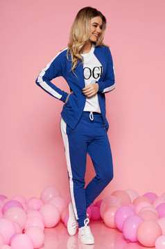 SunShine blue sporty set slightly elastic cotton with tented cut with medium waist with elastic waist