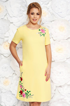 SunShine yellow daily straight dress from elastic fabric with embroidery details