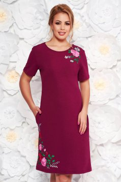 SunShine fuchsia daily straight dress from elastic fabric with embroidery details
