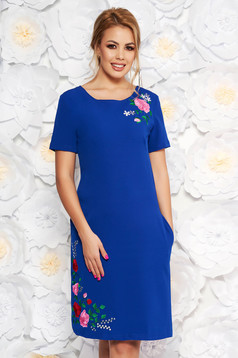 SunShine blue daily straight dress from elastic fabric with embroidery details