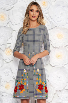 SunShine grey daily a-line dress 3/4 sleeve nonelastic cotton with embroidery details