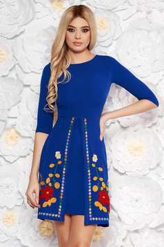 SunShine blue daily a-line dress slightly elastic fabric with embroidery details