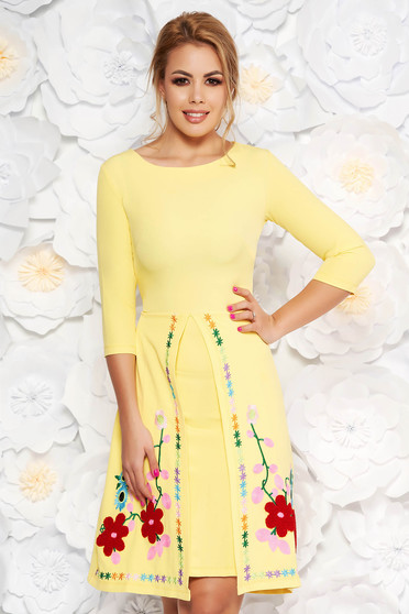 SunShine yellow daily a-line dress slightly elastic fabric with embroidery details