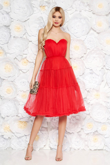 Ana Radu red corset dress from tulle with push-up cups luxurious with inside lining off shoulder