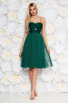 Ana Radu darkgreen luxurious cloche dress from tulle with inside lining corset cut-out bust design