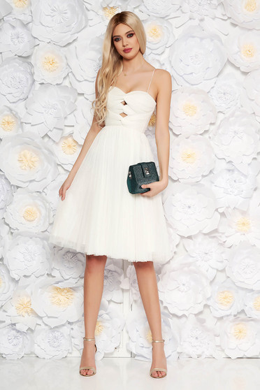 Ana Radu white luxurious cloche dress from tulle with inside lining corset cut-out bust design