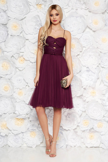 Ana Radu purple luxurious cloche dress from tulle with inside lining corset cut-out bust design
