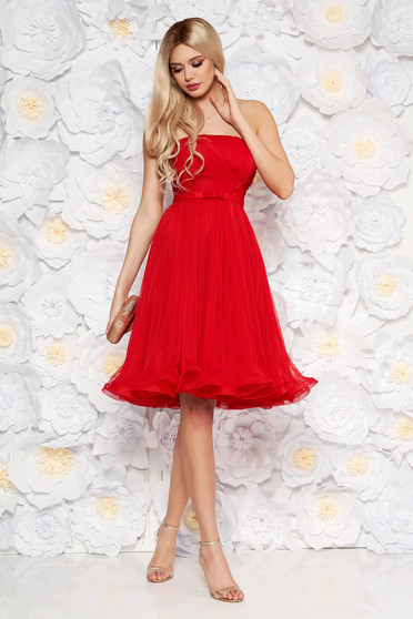 Ana Radu red luxurious corset cloche dress from tulle with inside lining off shoulder
