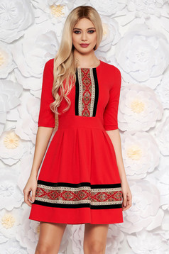 Red elegant midi cloche dress from elastic fabric with 3/4 sleeves